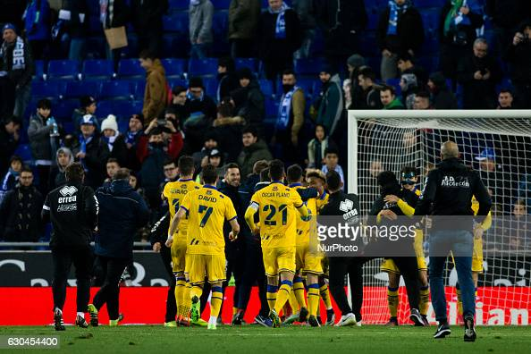 The Alcorcon team celebrating the victory and goes ahead to the next round of King's Cup during the Spanish Copa del Rey round of 32 second leg match...