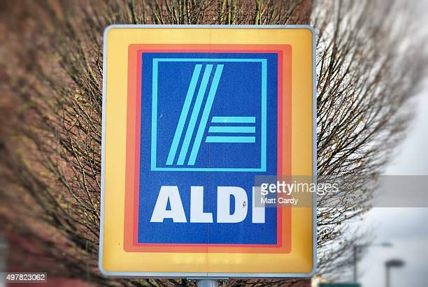 The Aldi sign is displayed outside a branch of the supermarket on November 18 2015 in Bristol England As the crucial Christmas retail period...