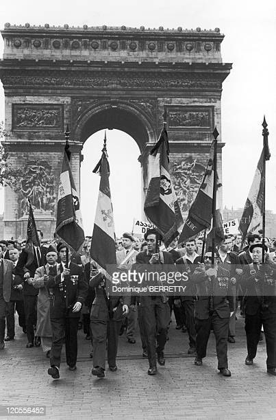 The Algerian War In Paris France In May 13 1958 Demonstration in favor of a French Algeria on the Champs ElyseesDemarquet a member of the National...