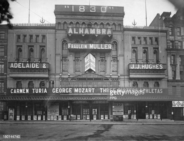 The Alhambra Theatre in London 2nd November 1911 Advertised attractions are Poldi Muller in '1830' and Marjorie Skelly in 'The Dance Dream' both...