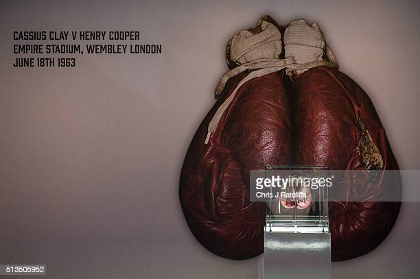The Ali 'split glove' from the 1963 fight v Henry Cooper at Wembley when Ali's glove split in the forth round at the preview of the 'I Am The...