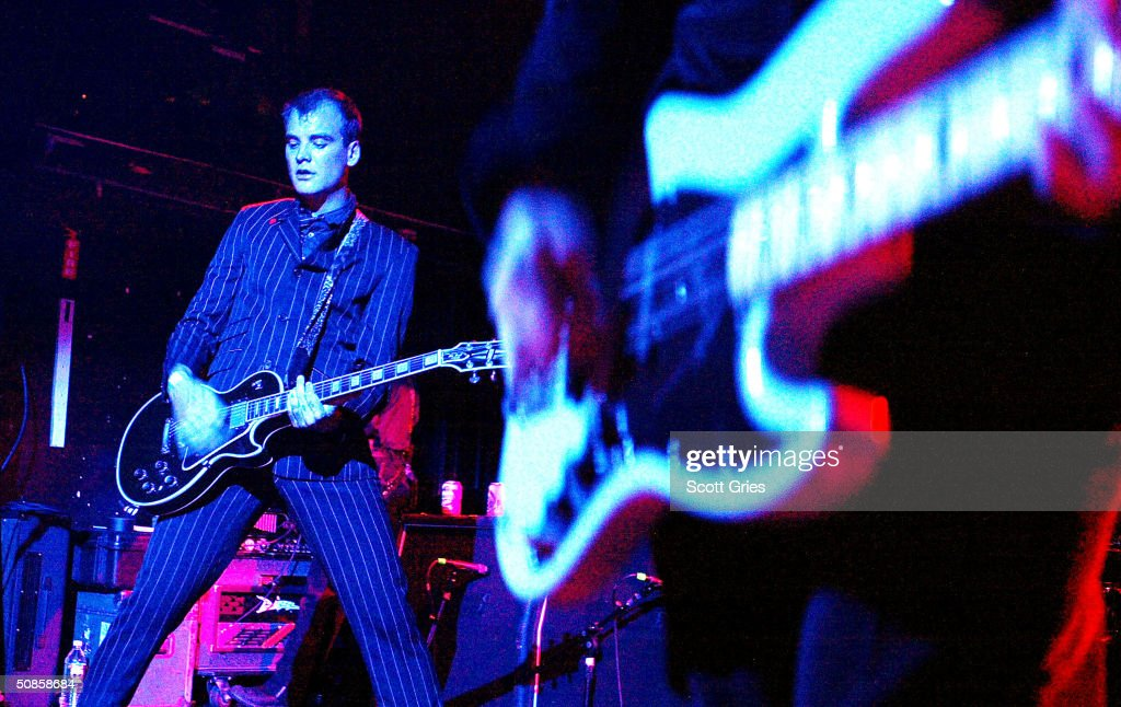 The Alkaline Trio performs on stage during 'Life's A Gas' at The Annual Joey Ramone Birthday Bash on May 19, 2004 at Irving Plaza, in New York City.