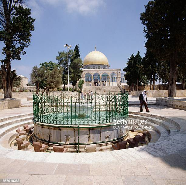The AlKas ablution fountain with the Dome of the Rock in the background Temple Mount or Noble Sanctuary Old City of Jerusalem Israel