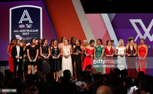 The All Australian team are presented during the The W Awards at the Peninsula on March 28 2017 in Melbourne Australia