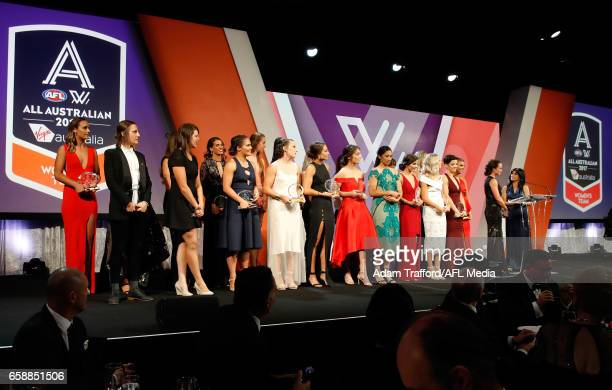 The All Australian team are seen on stage during the The W Awards at the Peninsula on March 28 2017 in Melbourne Australia