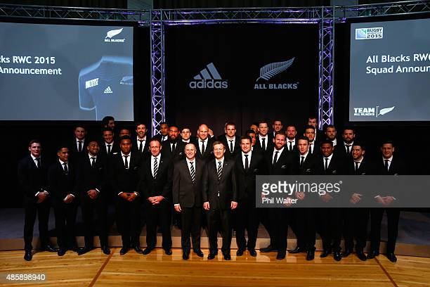 The All Black 2015 Rugby World Cup team pose on stage with Prime Minister John Key Sports Minister Jonathan Coleman and Labour Party Leader Andrew...