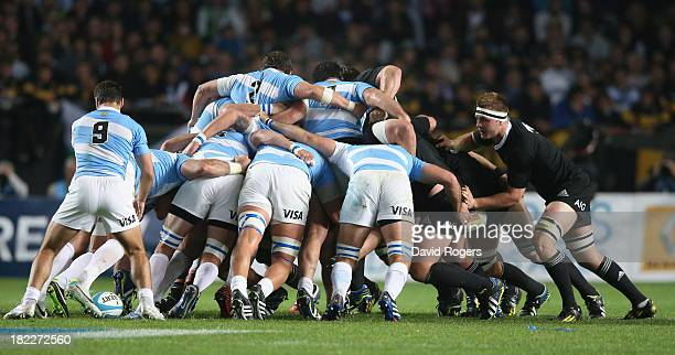 The All Black pack have problems against their opposite numbers in the scrum during The Rugby Championship match between Argentina and the New...