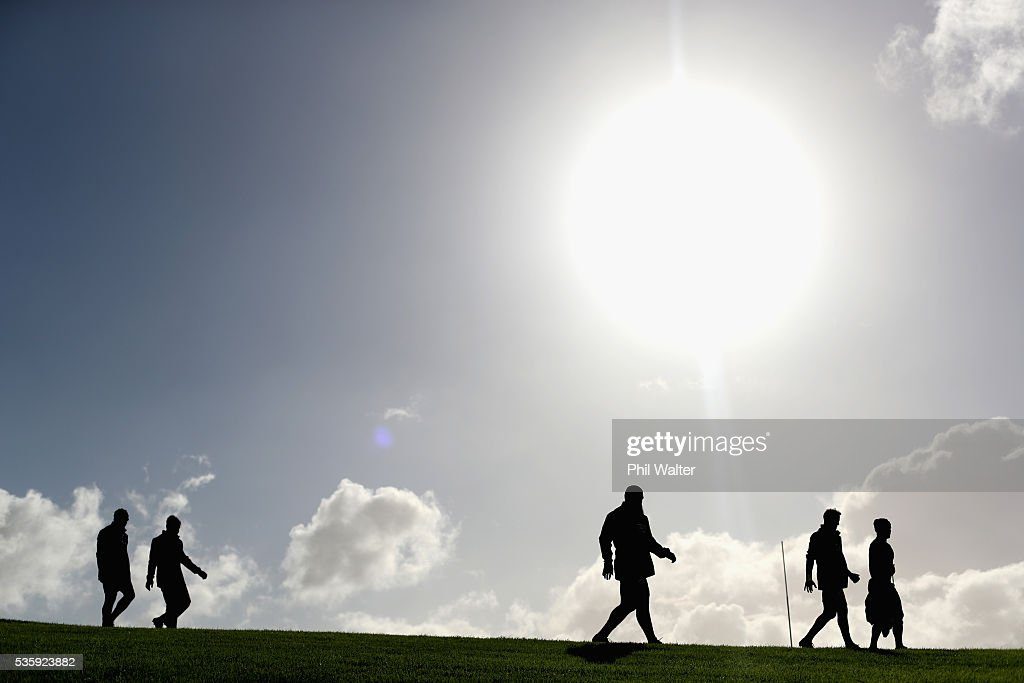 The All Blacks arrive for a New Zealand All Blacks training session at Trusts Stadium on May 31, 2016 in Auckland, New Zealand.