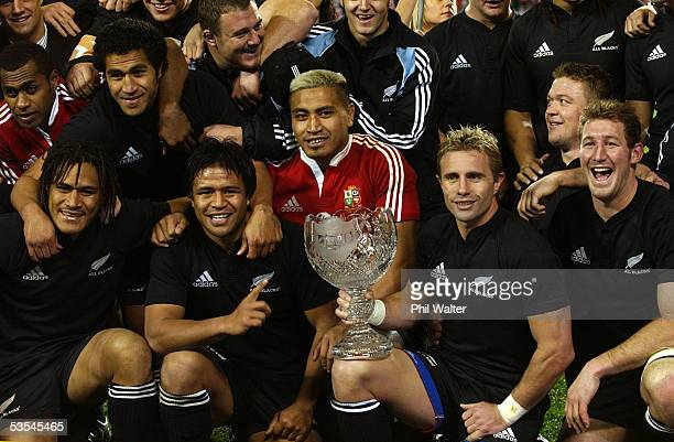 The All Blacks celebrate their 3819 win over the British and Irish Lions in the third and final rugby union test match played against the All Blacks...