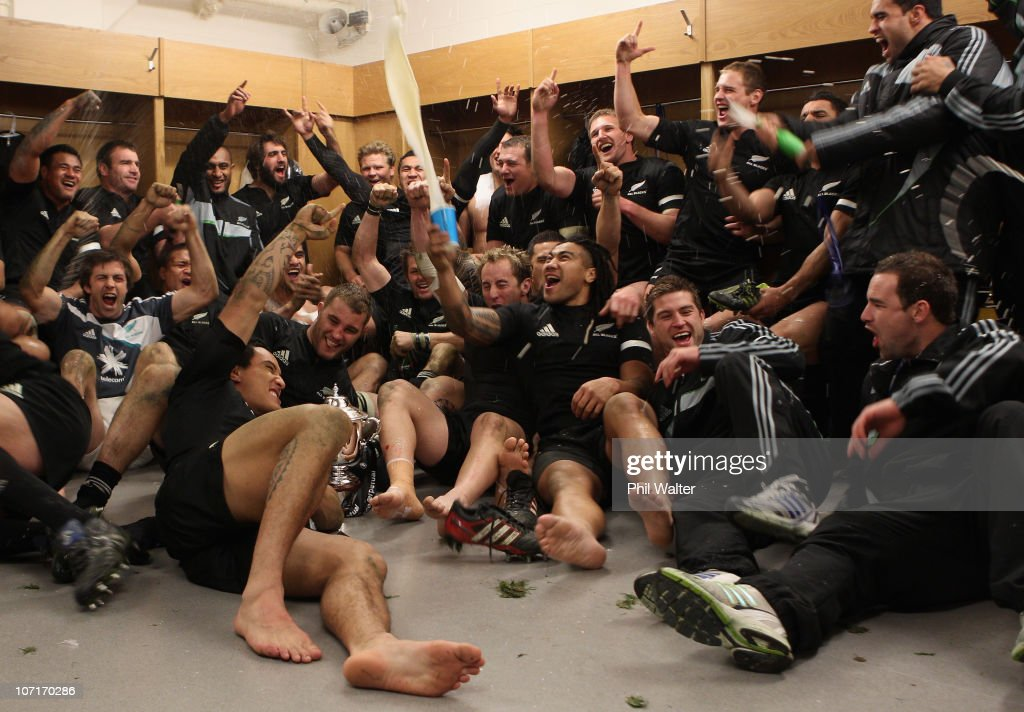 The All Blacks celebrate their win in the dressing room following the Test match between Wales and the New Zealand All Blacks at Millennium Stadium on November 27, 2010 in Cardiff, Wales.