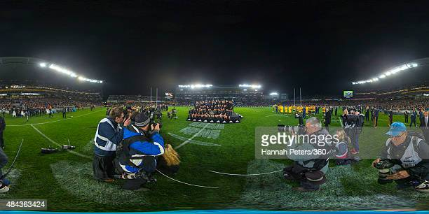 The All Blacks celebrate with the Bledisloe Cup following the Bledisloe Cup match between the New Zealand All Blacks and the Australian Wallabies at...