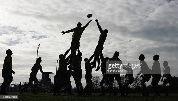 The All Blacks forwards practice lineout drills during an All Blacks training session at Rugby Park on July 05 2006 in Christchurch New Zealand The...