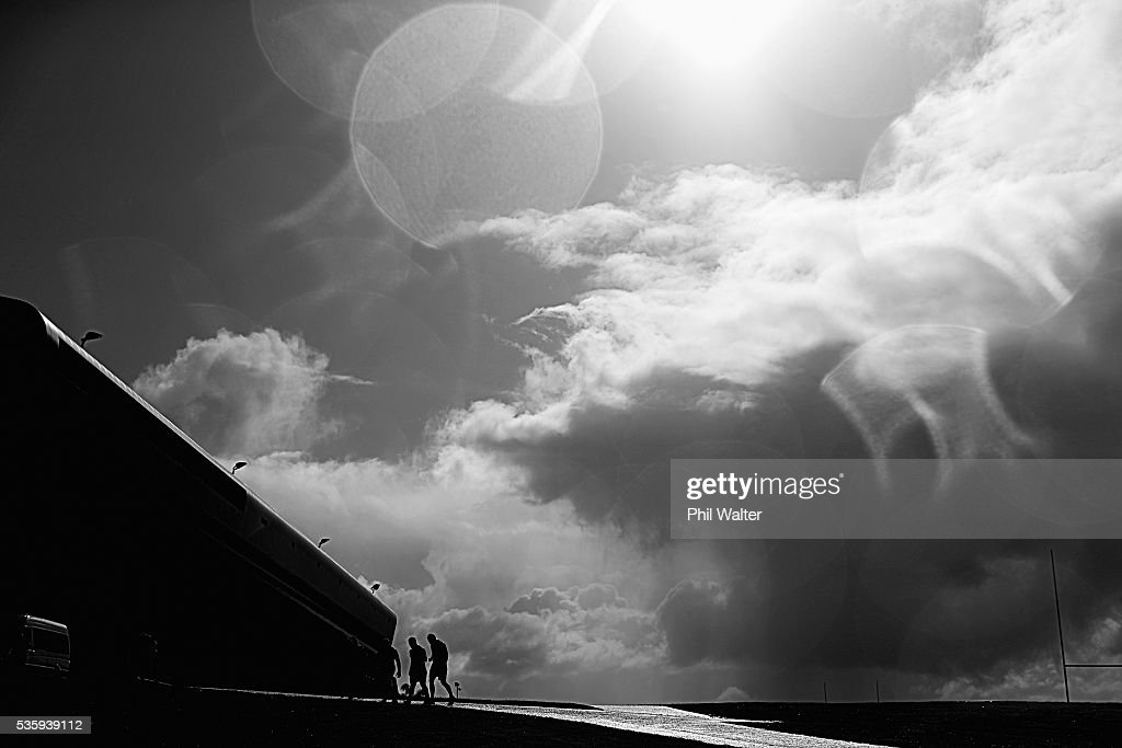 The All Blacks leave training following a New Zealand All Blacks training session at Trusts Stadium on May 31, 2016 in Auckland, New Zealand.