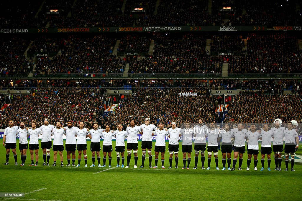 The All Blacks line up for the national anthem during the international test match between France and the New Zealand All Blacks at Stade de France on November 9, 2013 in Paris, France.