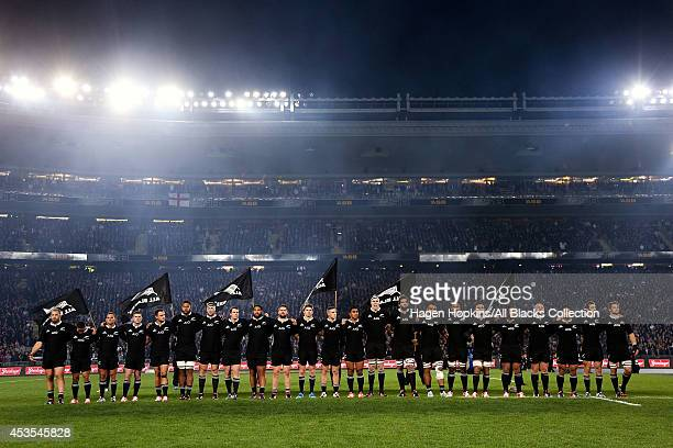 The All Blacks line up for the national anthem during the International Test Match between the New Zealand All Blacks and England at Eden Park on...