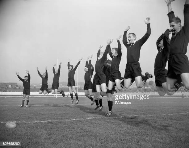 The All Blacks New Zealand's famous Rugby Union tourists seen here performing the traditional Maori Haka before their match against Newport