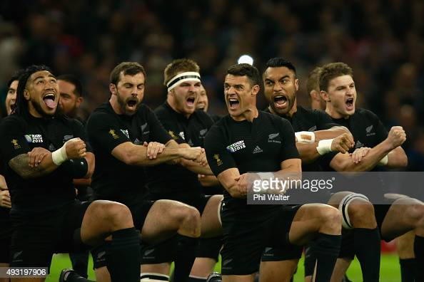 The All Blacks perform the Haka before the 2015 Rugby World Cup Quarter Final match between New Zealand and France at Millennium Stadium on October...