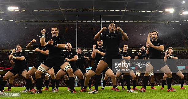The All Blacks perform the haka before the Intenational match between Wales and the New Zealand All Blacks at the Millennium Stadium on November 22...