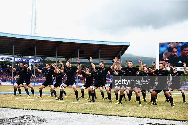 The All Blacks perform the haka before the International Test match between Samoa and the New Zealand All Blacks at Apia Stadium on July 8 2015 in...