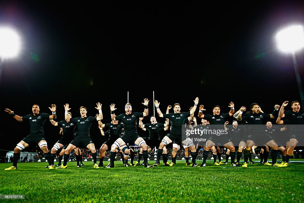 The All Blacks perform the Haka before The Rugby Championship match between the New Zealand All Blacks and Argentina at AMI Stadium on July 17 2015...