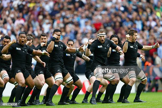 The All Blacks perform the haka during the 2015 Rugby World Cup Pool C match between New Zealand and Argentina at Wembley Stadium on September 20...