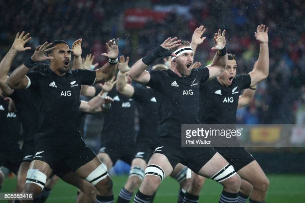 The All Blacks perform the haka during the International Test match between the New Zealand All Blacks and the British Irish Lions at Westpac Stadium...