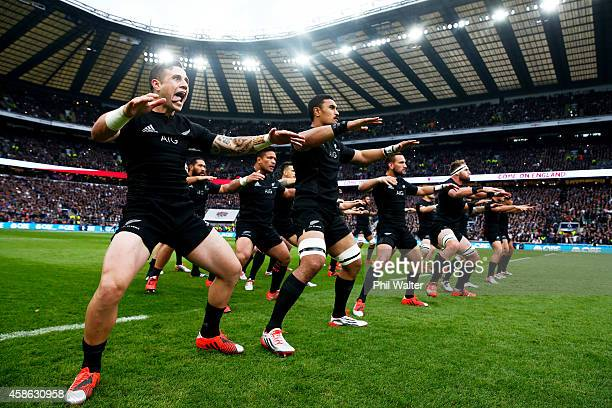 The All Blacks perform the Haka during the QBE International match between England and New Zealand at Twickenham Stadium on November 8 2014 in London...
