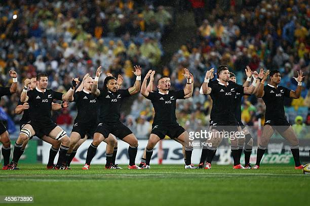 The All Blacks perform the Haka during The Rugby Championship match between the Australian Wallabies and the New Zealand All Blacks at ANZ Stadium on...