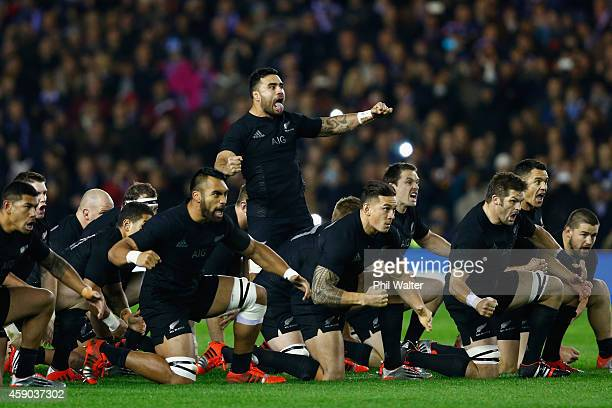 The All Blacks perform the haka during the Viagogo Autumn International match between Scotland and New Zealand at Murrayfield Stadium on November 15...