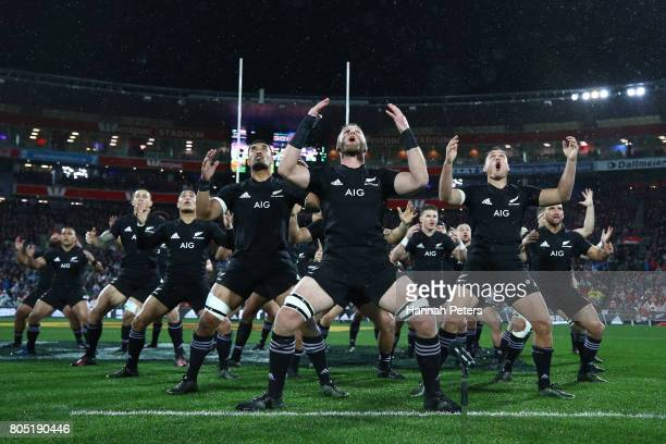 The All Blacks perform the Haka prior to kickoff during the second test match between the New Zealand All Blacks and the British Irish Lions at the...