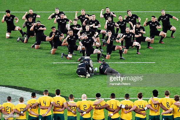 The All Blacks perform the haka prior to the Bledisloe Cup Rugby Championship match between the New Zealand All Blacks and the Australia Wallabies at...