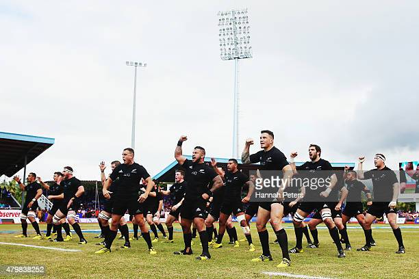 The All Blacks perform the haka prior to the International Test match between Samoa and the New Zealand All Blacks at Apia Stadium on July 8 2015 in...