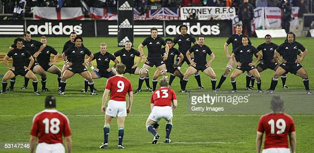 The All Blacks perform the prematch haka during the match between the British and Irish Lions and the New Zealand All Blacks at Jade Stadium June 25...