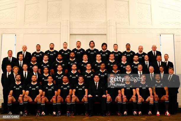 The All Blacks pose for the official New Zealand All Black team photo at the Heritage Hotel on August 9 2014 in Auckland New Zealand