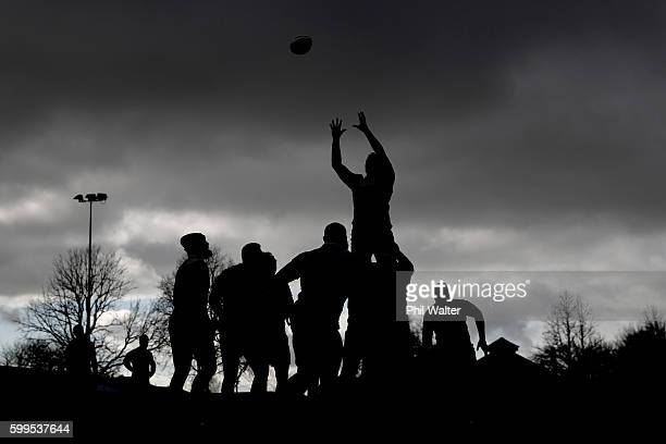 The All Blacks practice the lineout during a New Zealand All Blacks training session at Beetham Park on September 6 2016 in Hamilton New Zealand