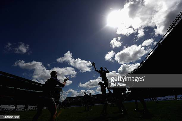 The All Blacks practice the lineout during the New Zealand All Blacks Captain's Run at Eden Park on October 21 2016 in Auckland New Zealand