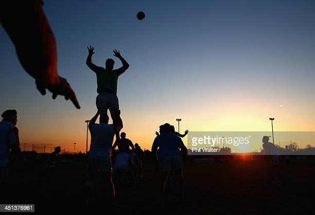 The All Blacks practice their lineout during a New Zealand All Blacks training session at the Westmanstown Sport and Conference Centre on November 22...