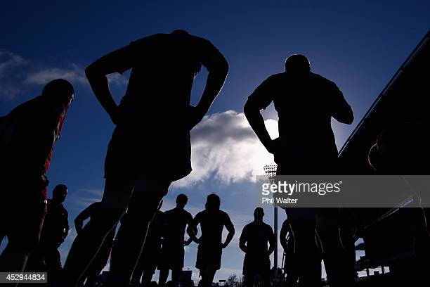 The All Blacks regroup during a New Zealand All Blacks training session at North Harbour Stadium on July 31 2014 in Auckland New Zealand