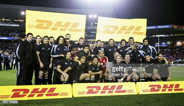 The All Blacks with the DHL Lions Series Trophy after the third test between the British and Irish Lions and the New Zealand All Blacks at Eden Park...
