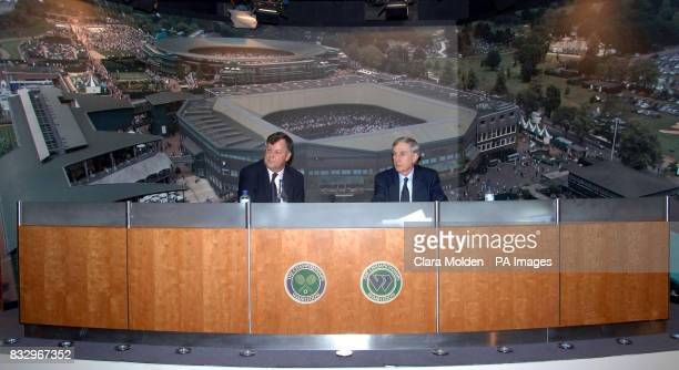 The All England Lawn Tennis Club Chairman Tim Phillips and Chief Executive Ian Ritchie answer questions from the media during a press conference at...
