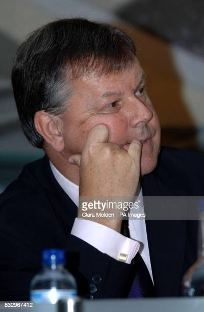 The All England Lawn Tennis Club Chief Executive Ian Ritchie bites his nails during questions from the media during a press conference at the club in...
