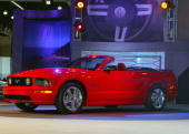 The all new 2005 Ford Mustang Convertible is unveiled at the 2005 Los Angeles Auto Show January 5 2005 in Los Angeles California