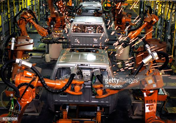 The all new 2009 Dodge Ram goes through the assembly line at the Warren Truck Assembly Plant September 12 2008 in Warren Michigan Chrysler LLC held...