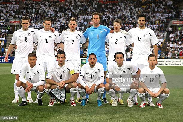 The All Whites pose for a team photo during the 2010 FIFA World Cup Asian Qualifier match between New Zealand and Bahrain at Westpac Stadium on...