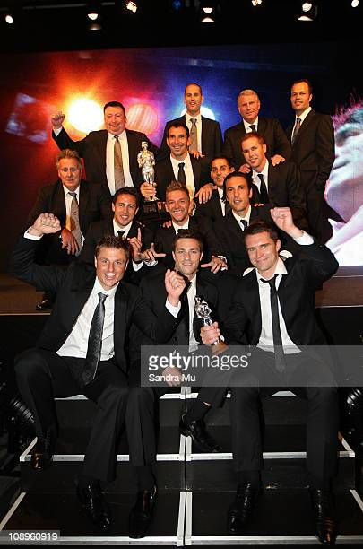The All Whites team celebrate winning the supreme award during the Westpac Halberg Awards at the SkyCity Convention Centre on February 10 2011 in...
