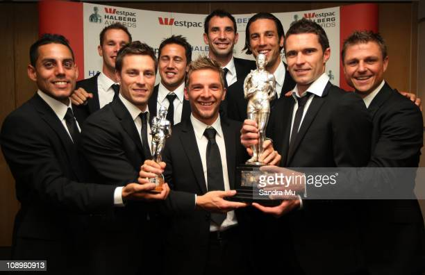 The All Whites team hold the Team of the Year and Supreme trophy during the Westpac Halberg Awards at the SkyCity Convention Centre on February 10...