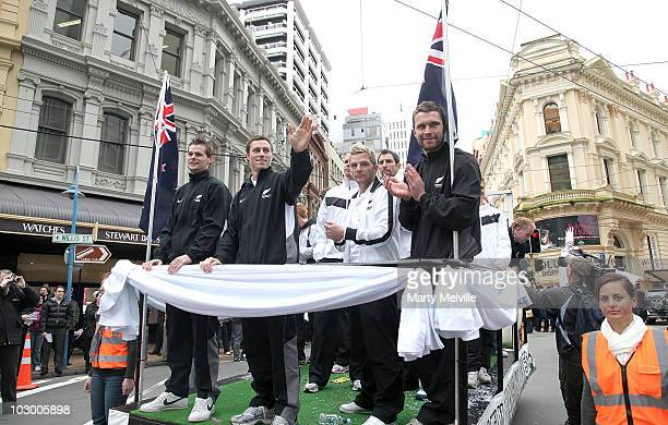 The All Whites wave to their fans during a street parade featuring the New Zealand All Whites Boca Juniors and Wellington Phoenix on July 21 2010 in...