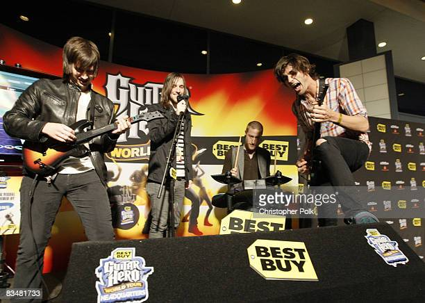 The AllAmerican Rejects play Guitar Hero World Tour at Best Buy Presents Guitar Hero World Tour VIP Launch Event at Best Buy in West Hollywood CA on
