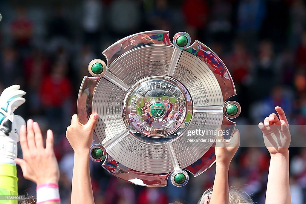 The Allianz FrauenBundesliga Championship winners trophy after the Allianz FrauenBundesliga match between FC Bayern Muenchen and SGS Essen at Stadion...