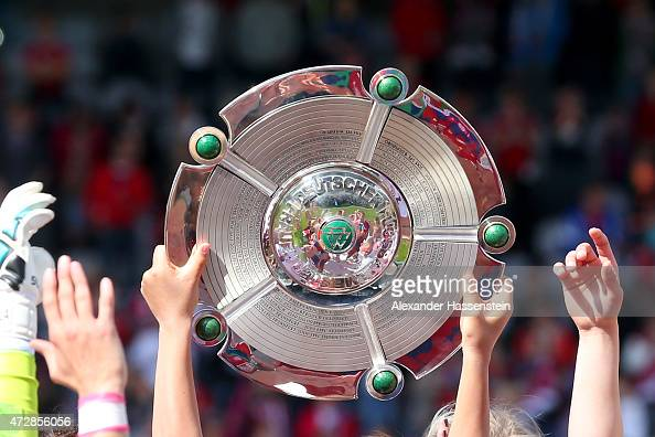 The Allianz FrauenBundesliga Championship winners trophy after the Allianz FrauenBundesliga match between FC Bayern Muenchen and SGS Essen at Stadion...